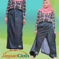 Jual Rok Celana Muslimah Jeans West Biru Dongker Navy M Original