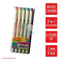 Highlighter Stabilo Marker Warna Pastel 2 in 1 JOYKO HL-46 Lengkap