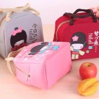 Tas Bekal Pemanas Makanan Lunch Bag Cooler Anak Lucu Kimono Girl