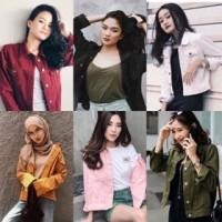 Murah Colour Denim Jacket Jaket Jeans Standart Warna Oversize Pink