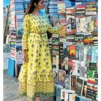 Kajal lemon yellow maxi dress kurti baju india