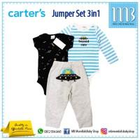 Carter Jumper Set Celana Panjang 3in1 - Stelan Baju Bayi Newborn