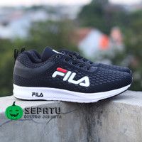 Sepatu Casual Sneakers Fila Running Untuk Senam Zumba Wanita Perempuan - Hitam Putih, 37