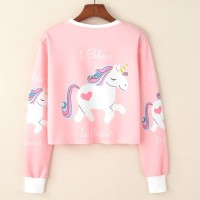 MichelleStore Sweater Crop I BELIEVE UNICORN - Pink