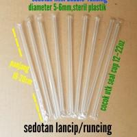 Sedotan transparan mini bubble/sedotan lancip/runcing steril plastik