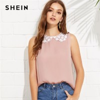 80f65bf2be SHEIN Pink Preppy Round Neck Sleeveless Contrast Lace Collar Button