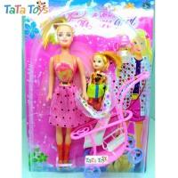 Boneka Barbie Dengan Kereta Bayi - Modern Girl With Baby Stroller