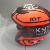Helm KYT Dj Maru Motif 11 World GP Orange Fluo Helm Half Face Bekas