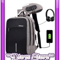 Tas Laptop Ransel Anti Maling Theft Smart Backpack USB Charger