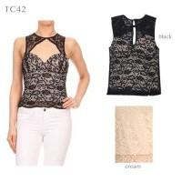 Tc42 - Lace Top With Bra Pad   Cewek