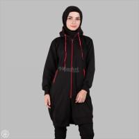 Jaket Panjang Wanita Muslimah Berhijab Cantik hitam x Red MURAH