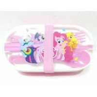 Kotak Makan Sekat Sendok Lunch Box Susun Bekal Anak My Little Pony A
