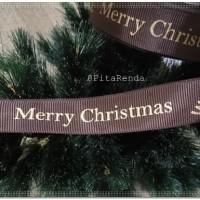 PGM-896 : Pita Grosgrain Merry Christmas 1 inch (PER ROL)