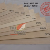 kayu balsa Tebal 10mm L10cm P100cm (10x100x1000mm)