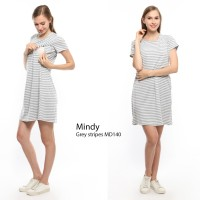 Just Mom Baju menyusui MINDY Grey stripe MD140