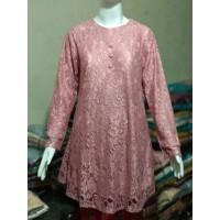 Baju Atasan Wanita Terbaru/Baju Atasan Tunik/Tunik Brukat TBK08 peach