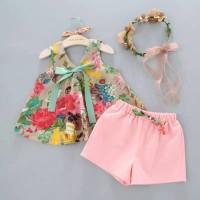 Baju Setelan Flower Anak Perempuan Import Best Seller