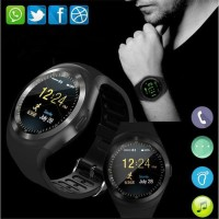 pro Sporty Smartwatch Bluetooth SIM Card for Android iOS - Y1 - Black
