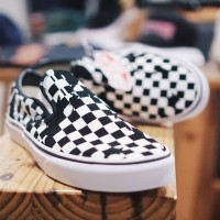 a062ab7fa26 VANS Classic Slip On Overprint Checkerboard Black White