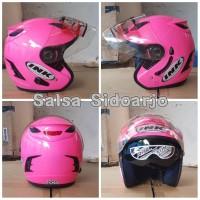 Helm Arl model INK centro doubel visor grade ori - Pink Stabilo