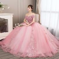 Gaun Pengantin 1811078 Pink Sabrina Lengan Pendek Wedding Gown
