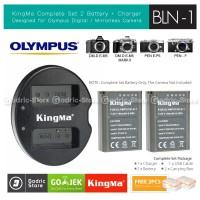 KingMa Paket Complete Baterai Charger Set BLN-1 Olympus E-M1 E-M5 Etc