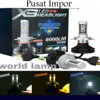 lampu led headlamp mobil h4 philips x3 best quality 3 warna