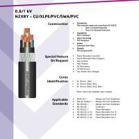 Kabel N2XRY 4x4mmsq 0.6/1 kV CU/XLPE/PVC/SWA/PVC