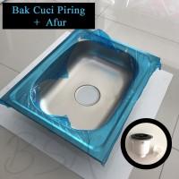 Bak Cuci Piring Stainless 50x40 + Afur / Kitchen Sink Bak Cuci Piring