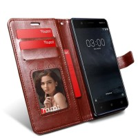 TERBARU Nokia 3 - Elegant Retro Leather Flip Case Cover - Brown