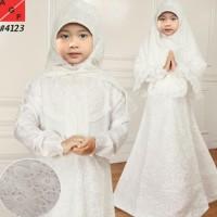 terbaik Baju Muslim Gamis Putih Remaja Anak Tanggung Bahan Silk Sutera