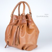 Gammara Leather Bucket Shoulder Bag / Backpack - Bajoa (Light Brown)