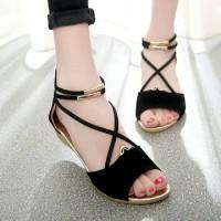 Sepatu Wanita Online Model Terbaru SANDAL WEDGES WANITA HANNA HITAM