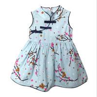 Mosfit Michelle Sakura Blue Dress Cheongsam Anak Perempuan