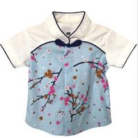 Mosfit Bruce Top Sakura Blue Cheongsam Baju Atasan Anak Laki Laki