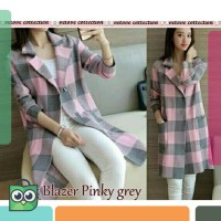 Long Blazer Tartan Pink Gray | BLAZER - COAT WANITA