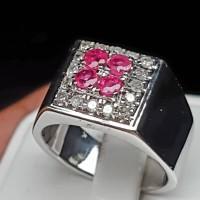 C695 cincin perak ruby rubi asli & 16 pc intan berlian diamond 15/7