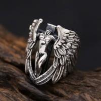 skull ring / cincin tengkorak import stainless steel 316L angel wings