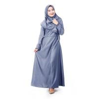 Muslimore Baju Muslim Wanita Gamis Murah Abu Tua Polos Baloteli XNB-12