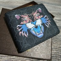 Dompet Pria Gucci Angry Cat Print GG Supreme Short Wallet Import Murah