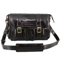 Messenger Bag Kulit Premium Zeus Dark Brown