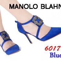 Sepatu High Heels Impor Import Manolo Blahnik W6017 6017 Biru Blue - Biru, 40