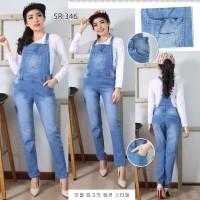 Jumpsuit Overall Baju Celana Kodok Panjang Jeans Polos Lentur S M L XL