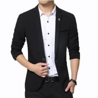Fashion Pria - Jas Pria Black Cool Stylish Korean Style