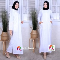 Gamis Putih Raisma Model Kantong Samping