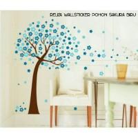 WALL STICKER POHON SAKURA BIRU TREE BLUE FLOWER AY9026B STIKER DINDING
