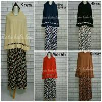 Best Seller Gamis Set Jilbab Fila warna Krem Hijab Khimar