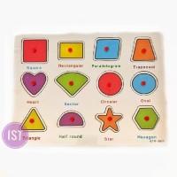 Harga mainan edukasi anak puzzle papan kayu bangunan datar inggris   antitipu.com