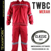 TWBC TeamWork Setelan Baju Celana Kerja Safety Wearpack Drill Merah