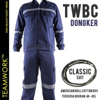 TWBC TeamWork Setelan Baju Celana Seragam Kerja Bengkel Katun Dongker